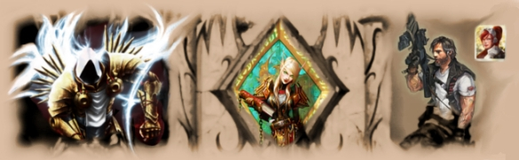 A sepia tone image featuring Blizzard's game franchises: Warcraft, Starcraft, and Diablo