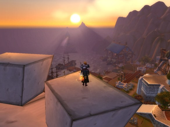 My paladin takes in the sunset in Stormwind