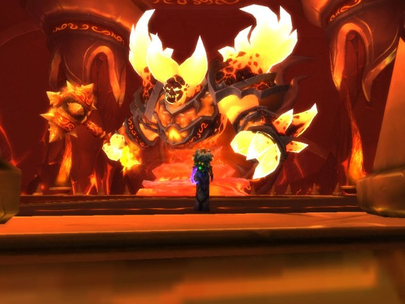 My paladin confronts Ragnaros the Firelord in Firelands