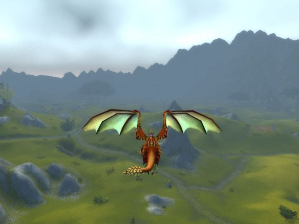 My rogue flying over Arathi Highlands during the Fangs of the Father chain