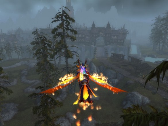 My rogue flying into Gilneas on the Fangs of the Father legendary chain