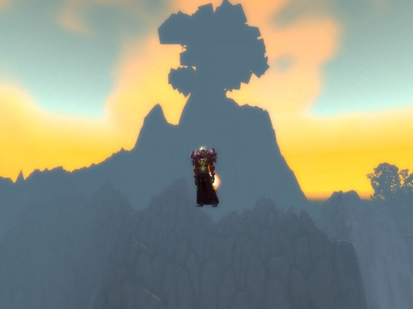 My mage paragliding off Mount Hyjal with slow fall