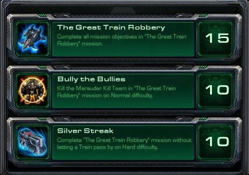 "The achievements for the Starcraft II: Wings of Liberty campaign mission, ""The Great Train Robbery"""