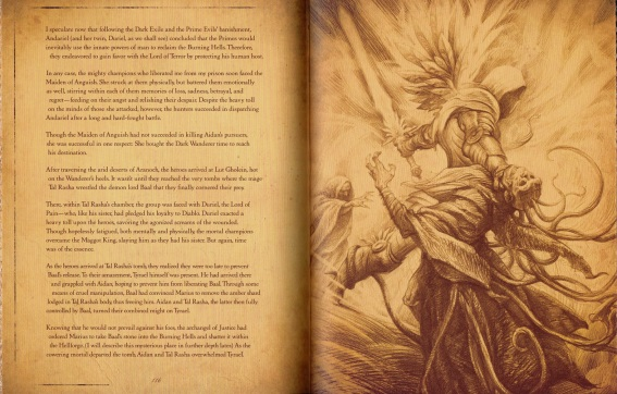 "An interior shot from ""The Book of Cain,"" featuring Tyrael's battle with Tal Rasha"