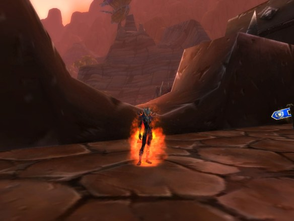 My destro warlock setting herself on fire in the Mists of Pandaria beta