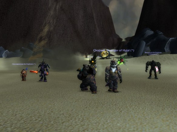 Some Pandaren monks in End Time in the Mists of Pandaria beta