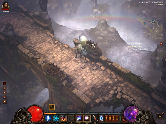 My wizard and her Templar companion in the first act of Diablo 3