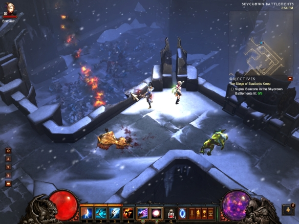 My wizard battles Azmodan's forces in Diablo III