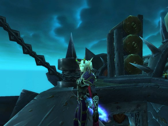 My warlock looking out over Icecrown from Orgrim's Hammer