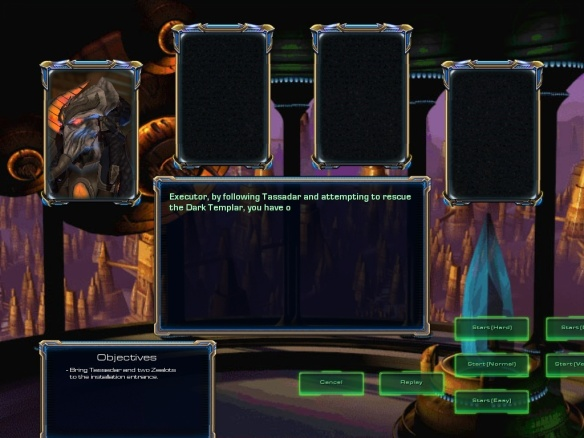 A screenshot of the briefing room in the Starcraft 1 remastered Protoss campaign