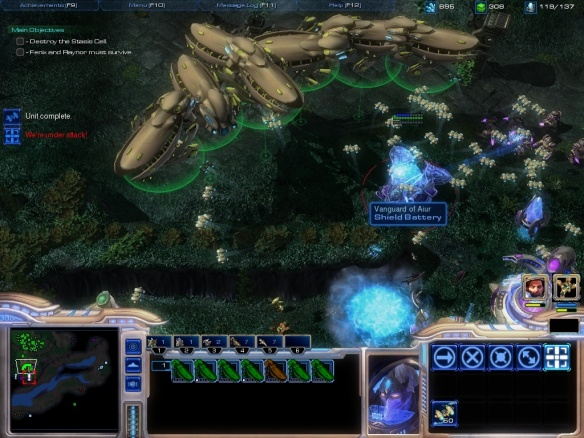 A screenshot of the Starcraft 1 remastered Protoss campaign