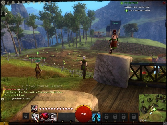 My thief exploring Queensdale in the Guild Wars 2 beta