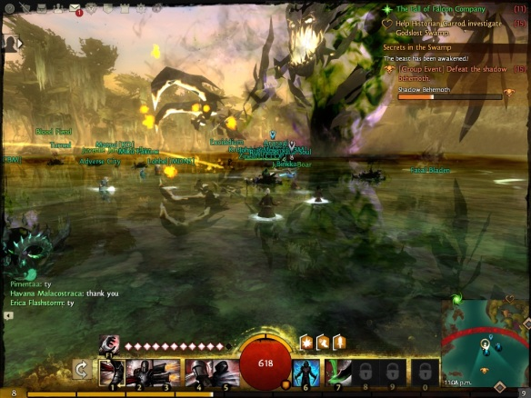 Battling a major boss during a dynamic event in the Guild Wars 2 beta