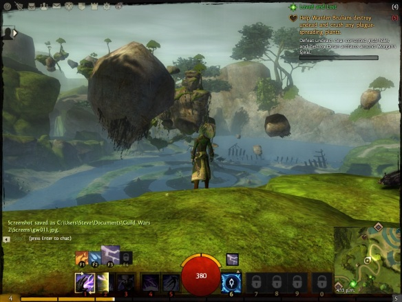 My elementalist explores Caledon Forest in the Guild Wars 2 beta