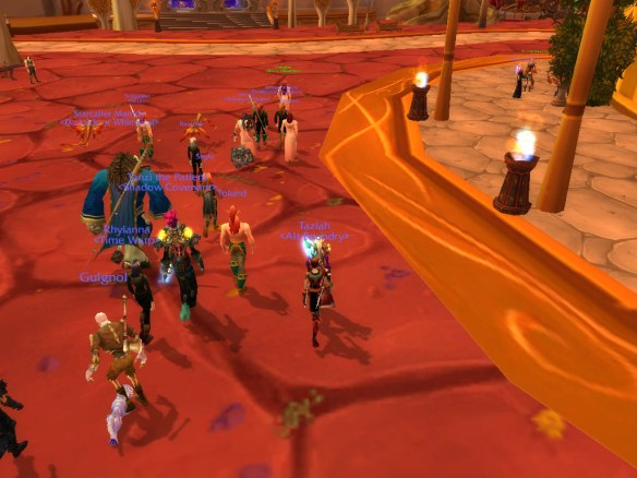 A screenshot of the beginning of the LGBT pride march on Wyrmrest Accord