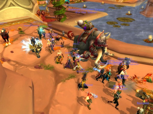 A screenshot of the LGBT pride march on Wyrmrest Accord heading for Undercity
