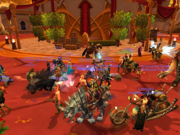A screenshot of the LGBT pride march on Wyrmrest Accord