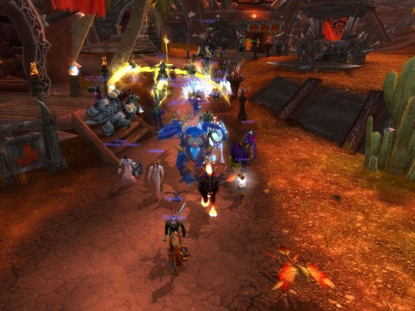 A screenshot of the LGBT pride march on Wyrmrest Accord as it made its way through Orgrimmar