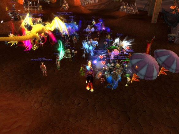 A screenshot of the conclusion of LGBT pride march on Wyrmrest Accord