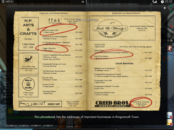The Kingsmouth phone book in The Secret World