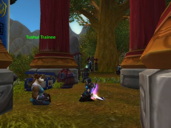My rogue meeting the Pandaren for the first time in patch 5.0.4