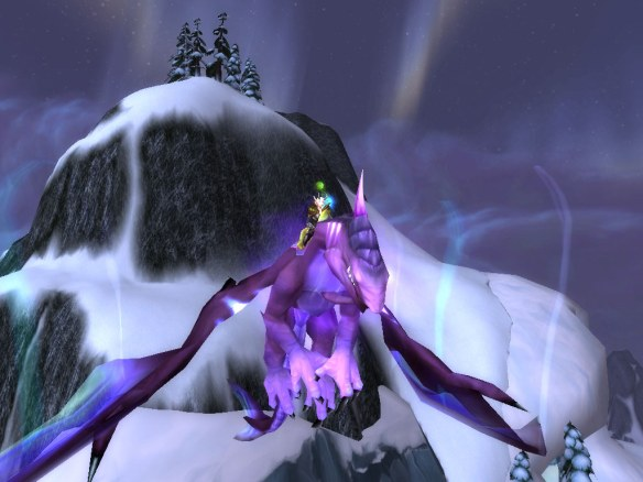 My warlock riding what was once my mage's violet Nether Drake
