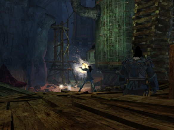My thief blasting with her pistols in Guild Wars 2