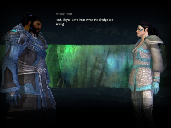 A conversation cinematic in Guild Wars 2
