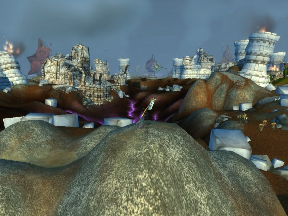 The smoking ruins of Theramore in World of Warcraft