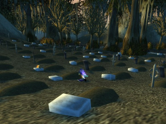 My rogue visiting the mass grave outside of Theramore
