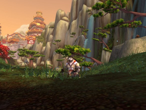 My Pandaren shaman relaxing on the Wandering Isle