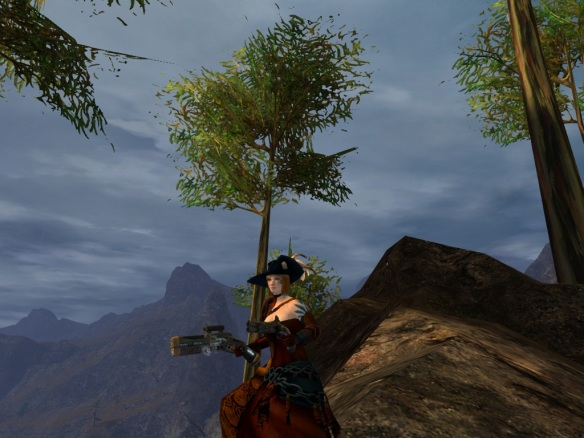 My thief showing off her stylish pimp hat in Guild Wars 2