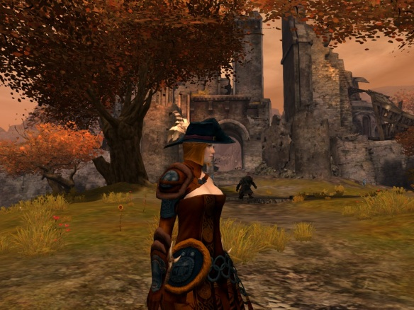 My Norn thief showing off her stylish pimp hat in Guild Wars 2