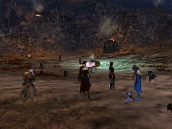 My thief and several other characters strut our stuff after defeating a lengthy group event chain in Guild Wars 2