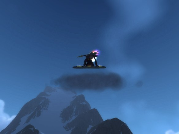 My warlock riding her disc of the red flying cloud mount in Kun-Lai Summit