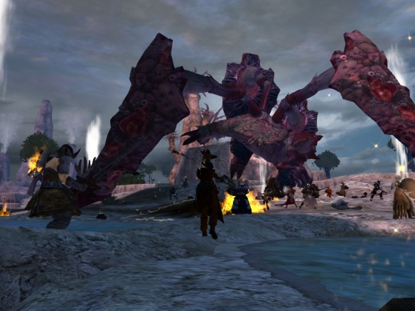 Battling the Ancient Karka in the Lost Shores event for Guild Wars 2