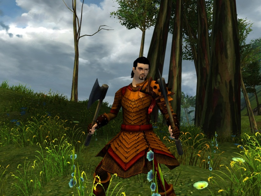 My warrior showing off his gear in Kessex Hills in Guild Wars 2