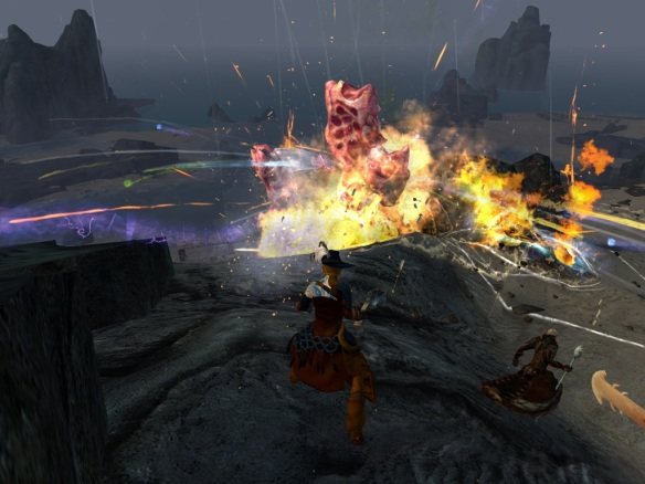 Battling karka on the Lost Shores in Guild Wars 2