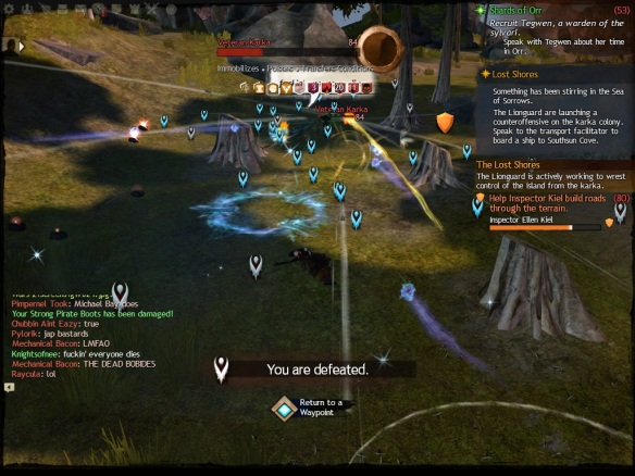 Countless dead players during the Lost Shores event in Guild Wars 2