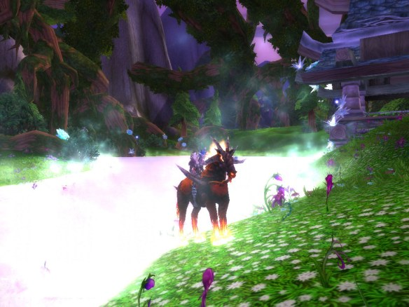 My warlock at the shore of the Well of Eternity in Mount Hyjal