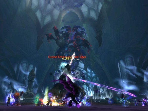 The Sha of Fear making an appearance during the Grand Empress Shek'zeer fight in the Heart of Fear raid
