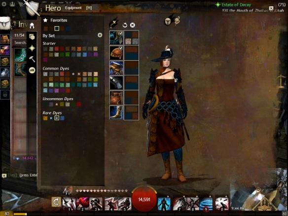 The dye screen in Guild Wars 2