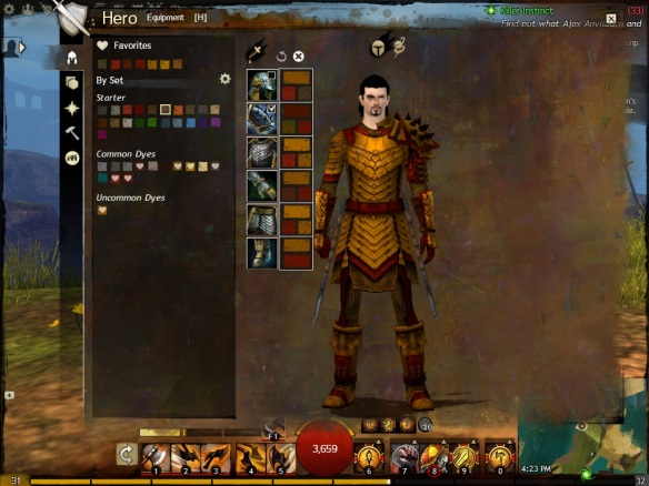 My warrior in Guild Wars 2 showing off his armor dyes