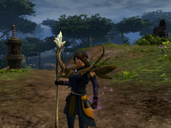 My mesmer shows off her Wasp Empire cosplay