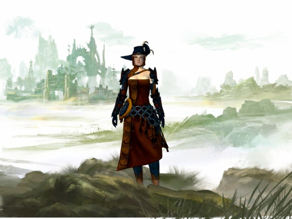 My thief on the character selection screen in Guild Wars 2