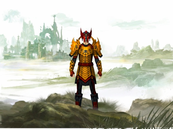 My warrior on the character selection screen in Guild Wars 2
