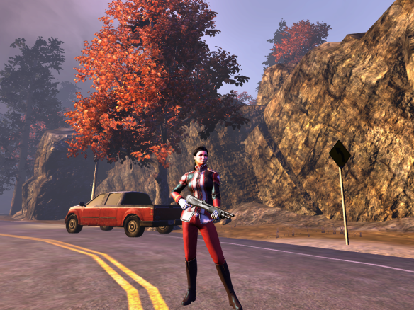 My Templar alt in The Secret World shows off her uniform at sundown