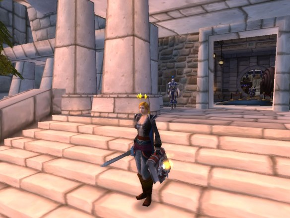 "My paladin showing off her ""town clothes"" in Stormwind"