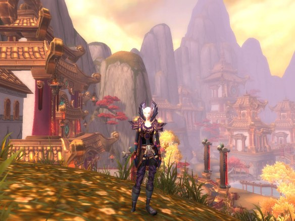 My warlock showing off her town clothes in the Vale of Eternal Blossoms