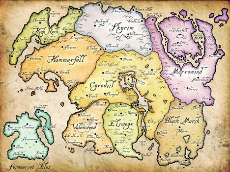 A map of the world of Tamriel from Elder Scrolls Online